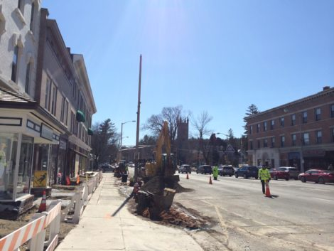 Denuded of its allee of Bradford pear trees, and the sidewalk under construction, Gresat Barrington's downtown, once charming, is hardly recognizable.