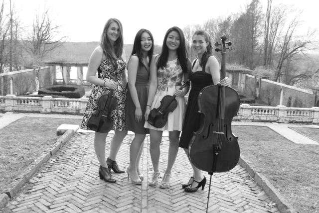 Bard College conservatory of Music ensemble: Rosemary Nelis, viola, pianist Annie Jeong, Reina Murooka, violin, and Sarah Ghandour, cello.