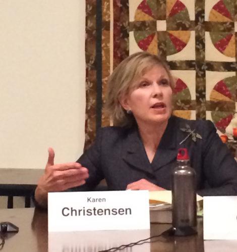 Karen Christensen at the April 28 candidates' forum at the senior center.