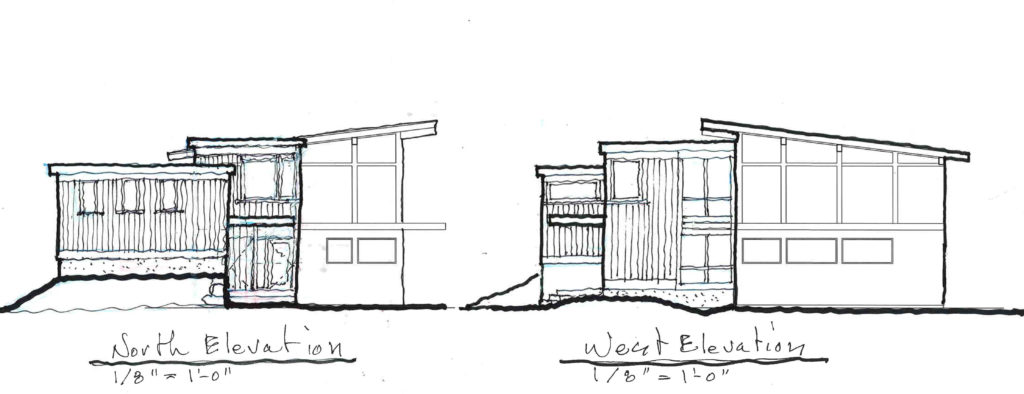 Second try – Scheme B -- North and West Elevations.
