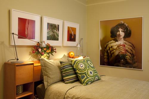 Bedroom with art.