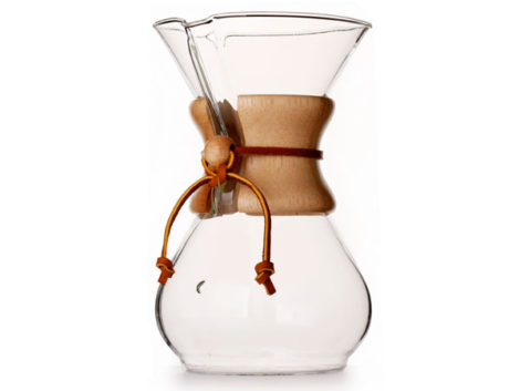 Six-cup Chemex coffee maker.