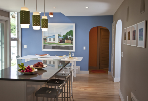 View from kitchen to dining area. Photo: Peter Vanderwarker