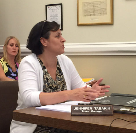 Town Manager Jennifer Tabakin explains to Selectboard what measures are being taken to enforce speed limits in residential neighborhoods.