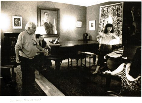 Leonard Bernstein giving a conducting lesson to Jeannette Sorrell.