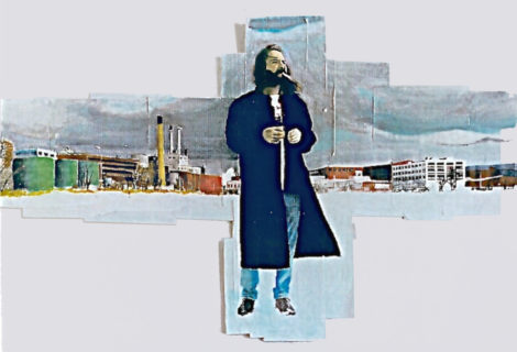 On Silver Lake. By Grier Horner. Watercolor and acrylic on black and white Xerox copies. 1997