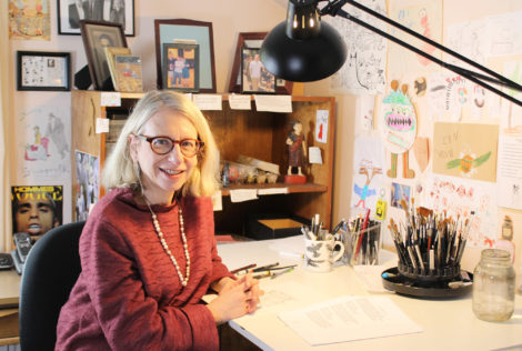 Roz Chast in her Ridgefield, Connecticut studio, March 2015. Photo by Jeremy Clowe for Norman Rockwell Museum. All rights reserved.