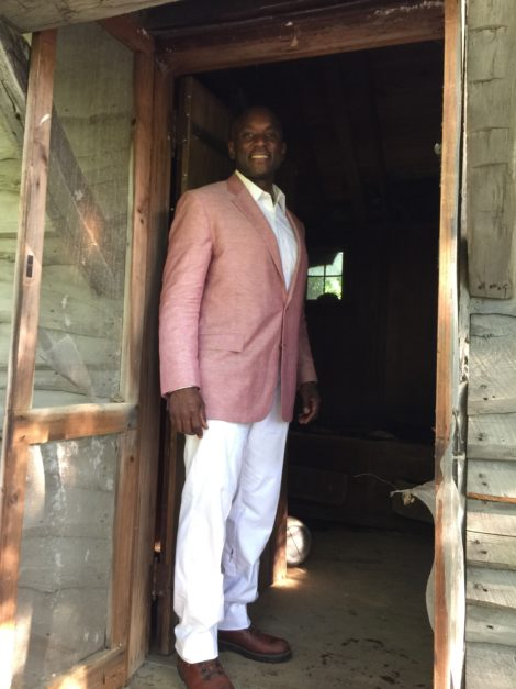 Rufus Jones at the entrance to Johnson's cabin. Photo: Heather Bellow