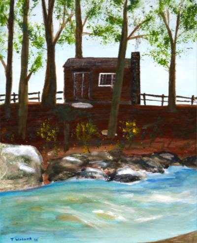 A painting of Johnson's writing cabin by Tom Warner.