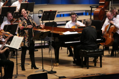 Mezzo-soprano Sarah Connolly and Christian-Zacharias with the BSO at Tanglewood. Photo: Hilary Scott