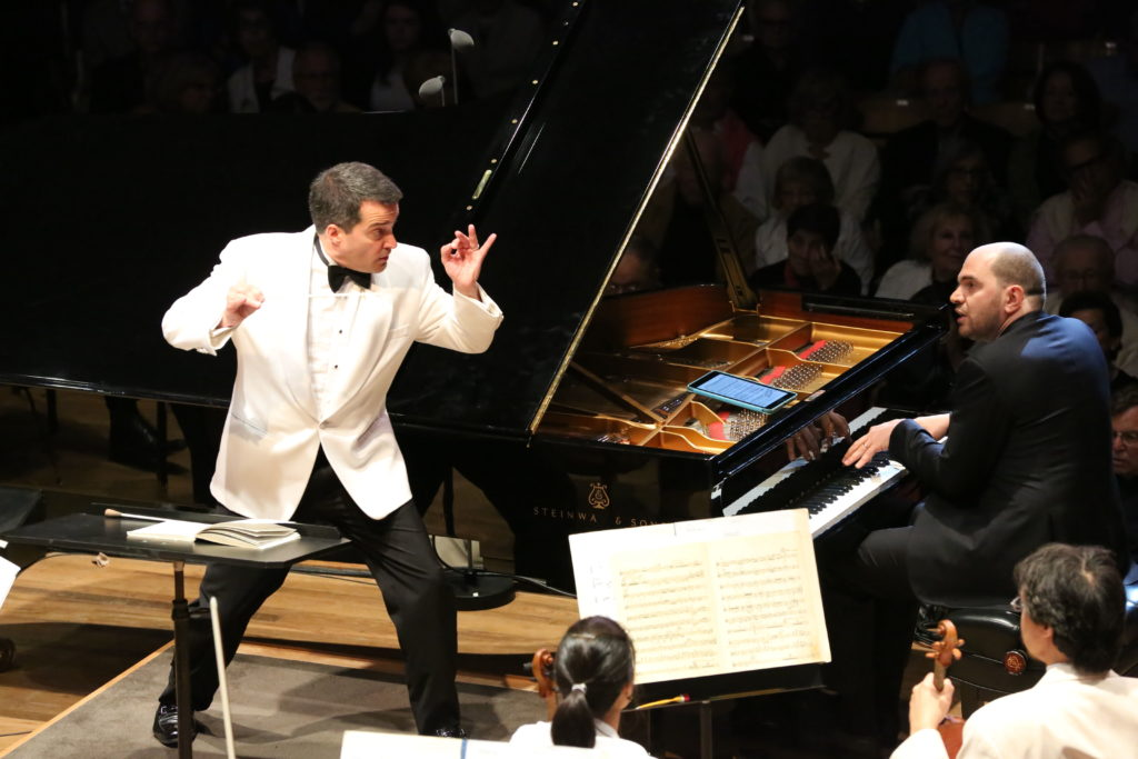 BSO conductor Jacques Lacombe and pianist Kirill Gerstein perform Gershwin's Concerto in F with the Boston Symphony Orchestra. Photo; Hilary Scott