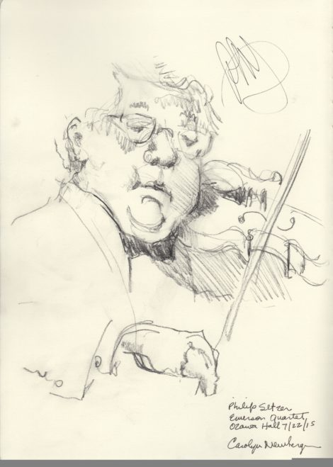 Violinist Philip Setzer, of the Emerson Quartet. Illustration by Carolyn Newberger