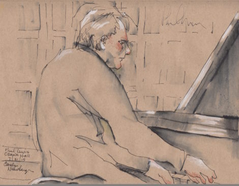Paul Lewis, performing Beethoven's Sonata No. 32 in C sharp minor, at Ozawa Hall. Illustration by Carolyn Newberger.