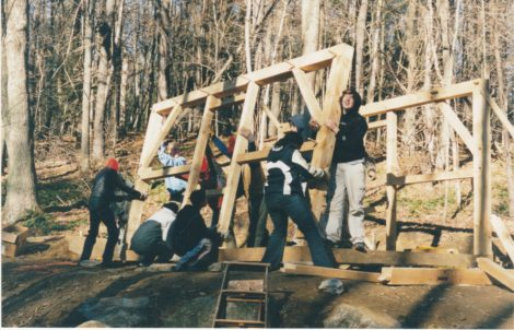 Berkshire School students in Sheffield, under the direction of teacher Hilary Russell, constructed a replica of Henry David Thoreau's one-room Walden Pond house in 2003. Photo: Bernard Drew