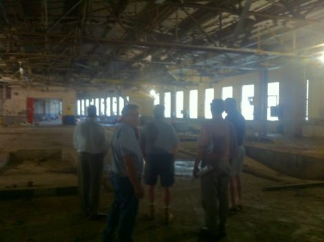 A tour was conducted inside the crumbling mill annex the developer, Jeffrey Cohen, wants to tear down.