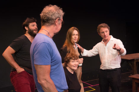 In rehearsal, director Matthew Penn (at right) with cast. Photo by Enrico Spada.