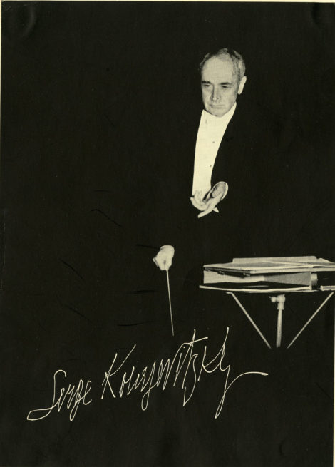 Autographed print of Serge Koussevitzky conducting. Photo: Courtesy of Boston Symphony Orchestra