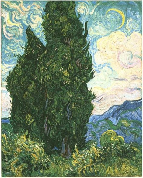 Cypresses by Vincent van Gogh. 1889. Oil on canvas.