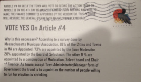The back of the postcard urging the approval of an appointed rather than elected Finance Committee.
