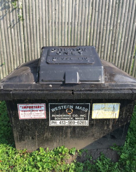 The bin at the Bridge Restaurant where used cooking oil is stored. Photo: Heather Bellow