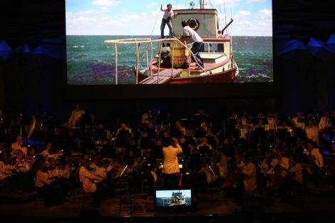 Though John Williams was not present in person, his music certainly was, Here, a scene from 'Jaws.'
