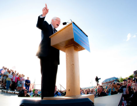 Bernie Sanders, announcing his campaign for president, at a May 28 rally in Burlington, Vt. Photo: Paul Joffe