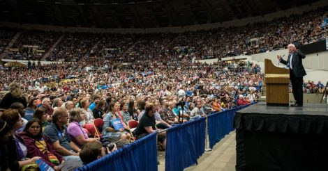 Bernie Sanders addressing a crowd in Madison, Wisconsin