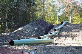A natural gas pipeline being installed in Pennsylvania forestland.