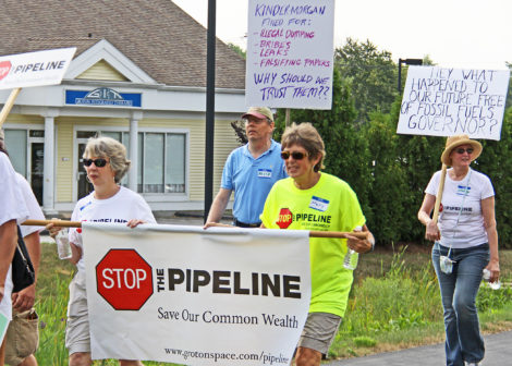 Protestors against the proposed Kinder Morgan Northeast Direct natural gas pipeline marched the entire route of the pipeline across Massachusetts, from Richmond to Dracut. Above, the activists have reached Groton.