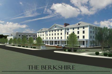 A rendering of the proposed 95-room upscale hotel on the site of the former Searles School.
