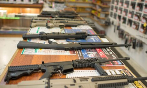 Assault weapons for sale in a gun shop in Roseburg, Oregon, where last week's mass shooting spree took place.