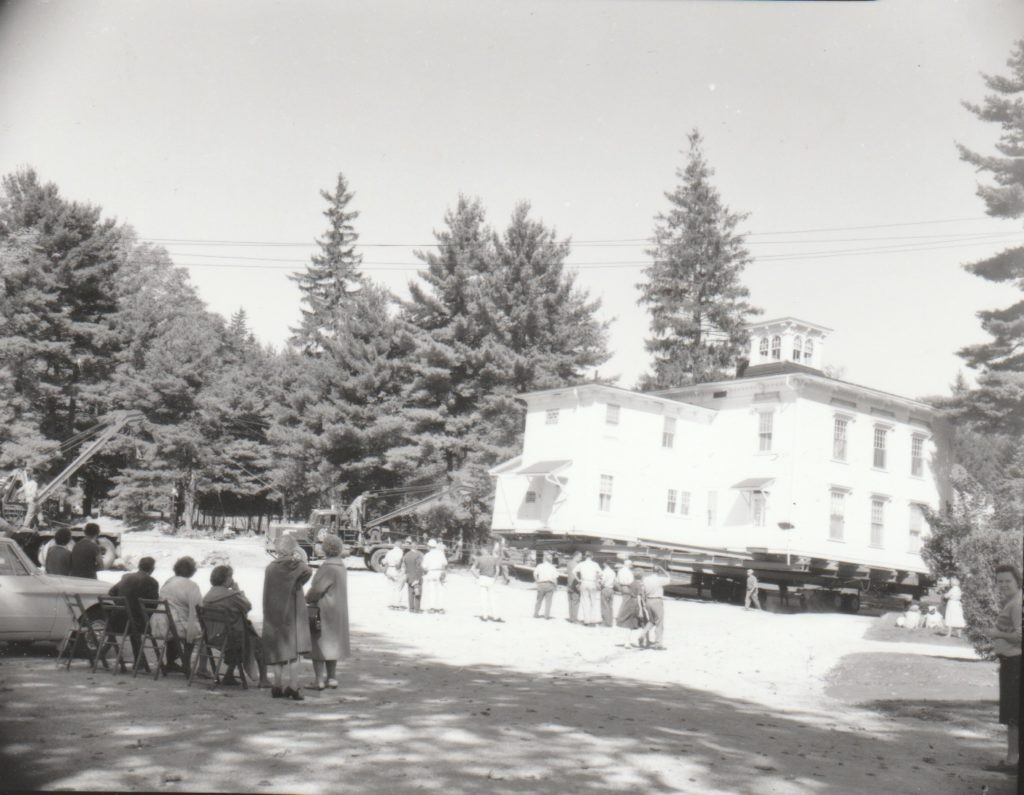 An audience watched as the Fassett house was placed on a new foundation on South Street, and has been an apartment building since 1964. (Marie Tassone photo/Great Barrington Historical Society)