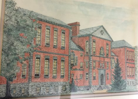 A rendering of the original Searles High School, before additions and modifications.