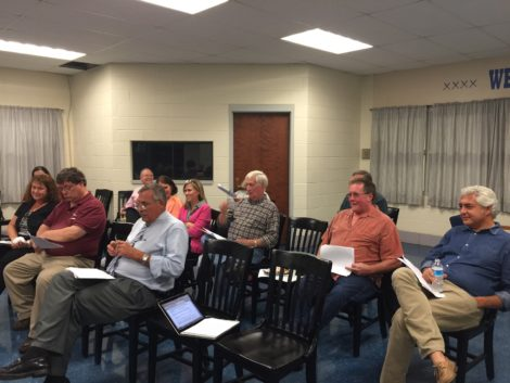 Officials from the five SBRSD member towns at the emergency meeting that disclosed assessment errors. Photo: Heather Bellow