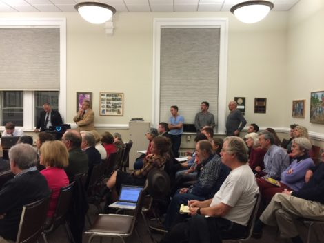 A large crowd attended the Planning Board session that addressed the proposed hotel.