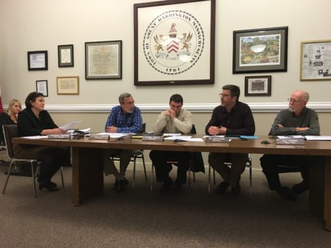 The Selectboard meeting Monday, November 9: from left, Town Manager Jennifer Tabakin, Stephen Bannon, Dan Bailly, Ed Abrahams and Bill Cooke.