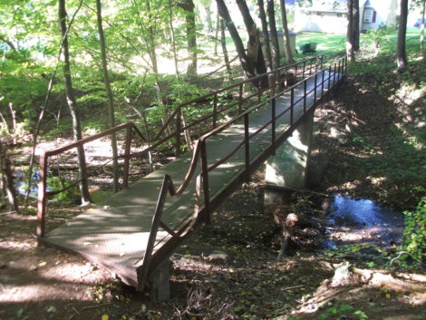 A footbridge links the Grove Street Park and Bentley Avenue. The curved railing is creative artistry left by a fallen tree. (Drew photo)