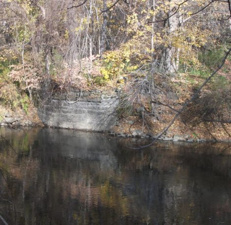This is the east abutment of a bridge that linked Mary Frances Sherwood Hopkins' Kellogg Terrace estate with the east side of the Housatonic River — and her stone quarry. (Drew photo)