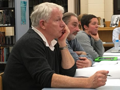 From left, School Committee members Charlie Flynn, Arthur Batacchi, and Francoise Lartigue. Photo: Heather Bellow