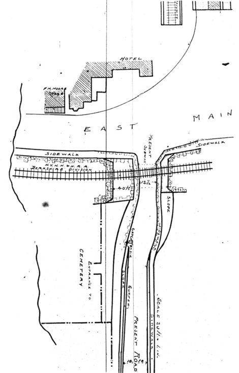 "The map shows the ""improvement"" to the Housatonic underpass, with the town pushing to have the tunnel made 40 feet wide. The ""Entrance to Cemetery"" is speculative. Brick House Pub is on the site today. Greenlawn Cemetery was established instead on Vandeusenville Middle Road. (Berkshire Courier, Dec. 18, 1902)."