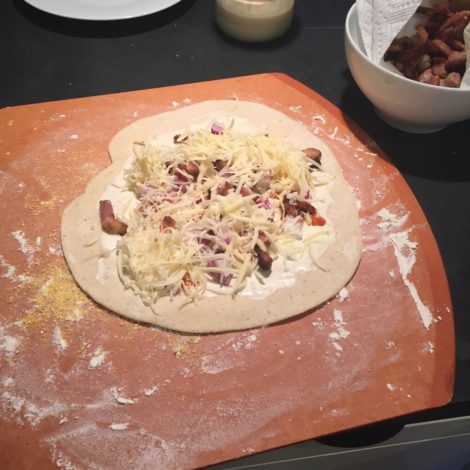 Ranch, lardons, onions and swiss cheese for a topping.