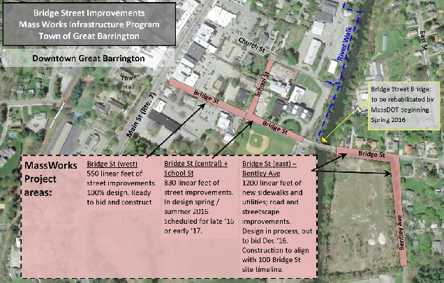 Mass Works plans and schedule for upgrades to Bridge and School streets and Bentley Avenue.
