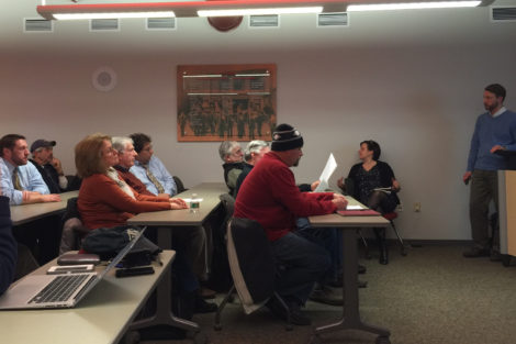 Town Manager Jennifer Tabakin (seated) and Planner Chris Rembold take questions during an information session on the Bridge Street upgrades. Photo: Heather Bellow
