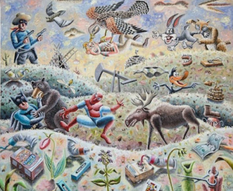 Moose in Town, 2014. By Morgan Bulkeley. Oil on canvas. 30 x 36 inches