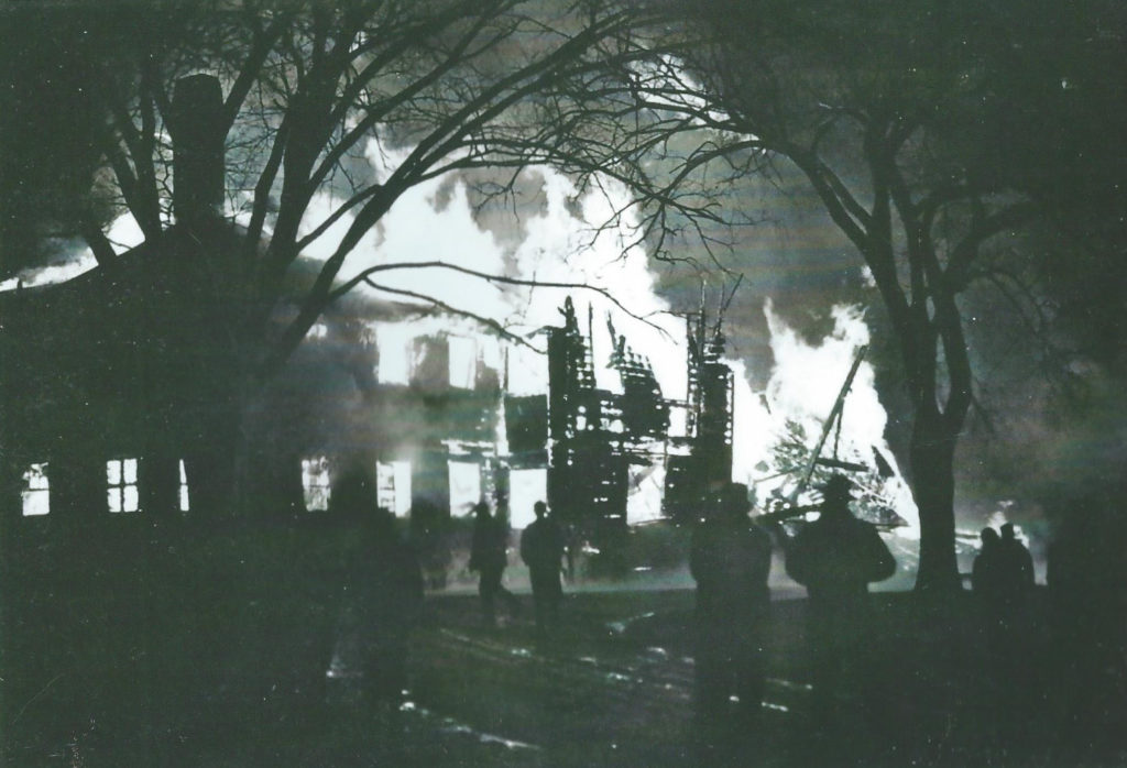 Clover Croft burning to the ground in 1954.