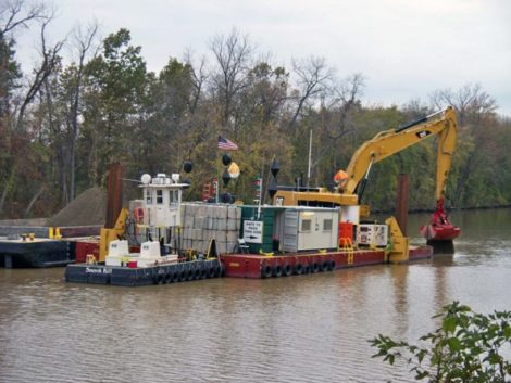 Dredging of the Hudson River in Hudson Falls, New York, part of the cleanup of PCBs.