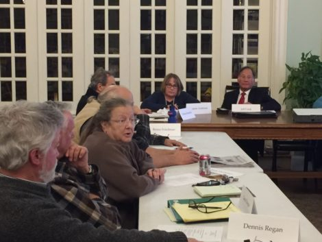 Housatonic Environmental Action League (HEAL)'s Judy Herkimer (third from left) questioning the DEP's Eva Tor.