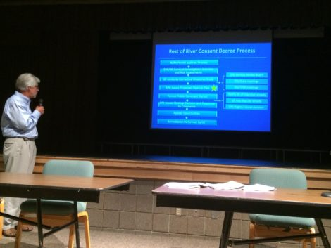 EPA spokesperson Jim Murphy, explaining the consent decree process, during an EPA hearing in Lenox.