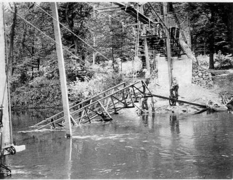 The Park Street footbridge (4) to Ice Glen was a mess after it collapsed during construction in 1936. (Stockbridge Library Local History Room Collection)