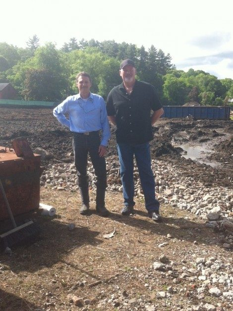 CDC Executive Director Tim Geller, left, with Chris Young of BioTech Solutions, as the bioremediation was commencing in 2014.